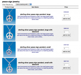 peace sign pendant gallery and online shop