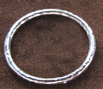 hand forged sterling silver bangle with diamonds